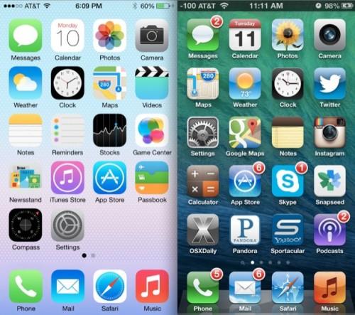iOS 7 vs. iOS 6